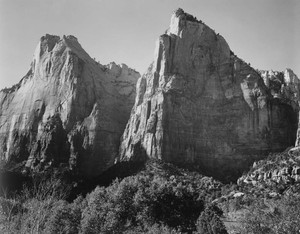 Art prints of Court of the Patriarchs, Zion National Park, Utah by Ansel Adams
