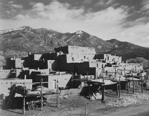 Art prints of Full view of city, Taos Pueblo National Historic Landmark, New Mexico, 1941