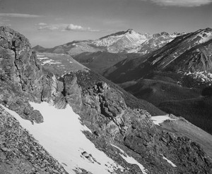 Art prints of Mountains with Snow, Long's Peak, Rocky Mountain National Park, Colorado by Ansel Adams