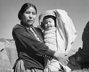 Art prints of Navajo Woman and Infant, Canyon de Chelly, Arizona by Ansel Adams