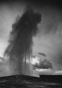 Art prints of Old Faithful Geyser at dusk or dawn, Yellowstone National Park, Wyoming II