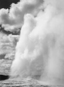 Art prints of Old Faithful, Yellowstone National Park, Wyoming by Ansel Adams