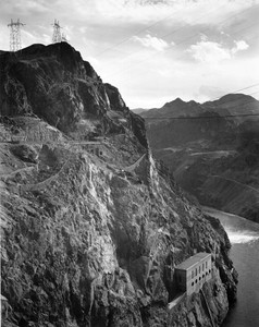 Art prints of Photograph from Side of Cliff with Hoover Dam (aka Boulder Dam) Transmission Lines by Ansel Adams