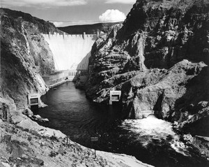Art prints of Photograph of the Hoover Dam (aka Boulder Dam) from Across the Colorado River by Ansel Adams