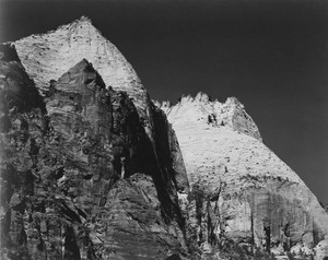 Art prints of Rock formation against dark sky, Zion National Park, 1941, Utah