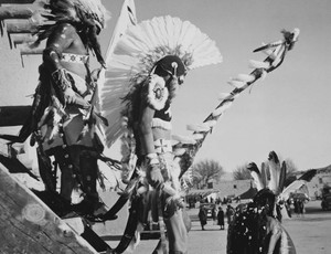 Art prints of Three Tewa men in headdress, Dance, San Ildefonso Pueblo, New Mexico, 1942