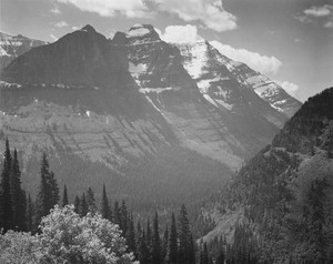 Art prints of Valley, snow covered mountains in background, Glacier National Park, Montana
