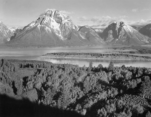 Art prints of View Across River Valley towards Mount Moran, Grand Teton National Park, Wyoming by Ansel Adams