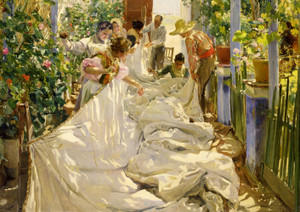 Art Prints of Sewing the Sail by Joaquin Sorolla y Bastida