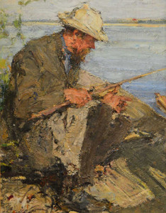 Art prints of Portrait of the Artist's Father Fishing by Nicolai Fechin