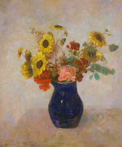 Prints and cards of Bouquet in a Small Blue Vase by Odilon Redon