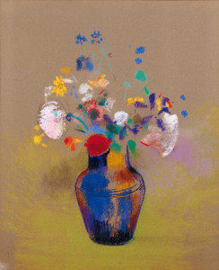 Prints and cards of Flowers on a Gray Background by Odilon Redon