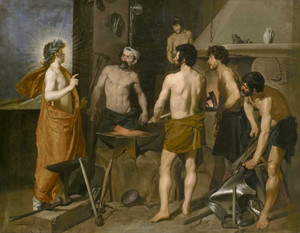 Art prints of Apollo in the Forge of Vulcan by Diego Velazquez