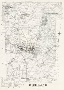 Art Prints of Bucks County Map Richland, Bucks County Vintage Map