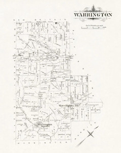 Art Prints of Bucks County Map Warrington, Bucks County Vintage Map