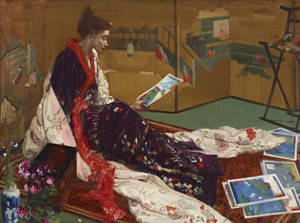 Art prints of Caprice in Purple and Gold, The Golden Screen by James Abbott McNeill Whistler
