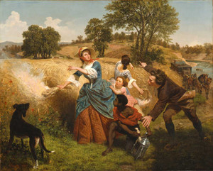 Art prints of Mrs. Schuyler Burning Her Wheat Fields on the Approach of the British by Emanuel Leutze