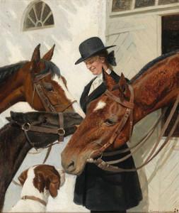 Art prints of Visiting the Horses by Adolf Heinrich Hansen