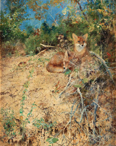Art prints of Fox, 1886 by Bruno Liljefors