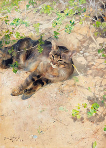 Art prints of The Cat Jeppe in the Spring Sun by Bruno Liljefors