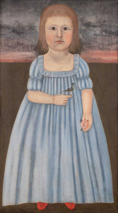 Art prints of Child in a Blue Dress Holding a Bird and a Rose by John Brewster Jr.