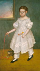 Art prints of Girl with Kitten by Joseph Goodhue Chandler