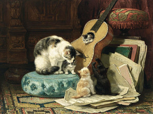 Art prints of The Guitar Lesson II by Henriette Ronner Knip