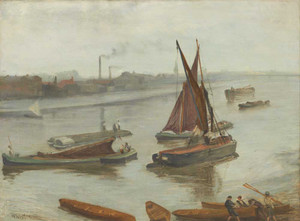 Art prints of Grey and Silver, Old Battersea Reach by James Abbott McNeill Whistler