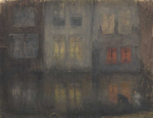 Art prints of Nocturne, Black and Red Back Canal, Holland by James Abbott McNeill Whistler