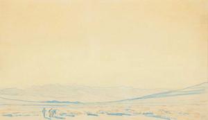 Art prints of Desert with Prospector Coachella Valley by Maynard Dixon