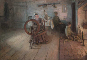 Art prints of Spinning by Firelight by Henry Ossawa Tanner