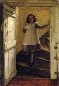 Art prints of Girl on Stairs by Laura Theresa Alma-Tadema
