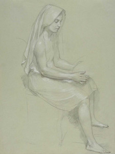Art prints of Study of a Seated Veiled Female Figure by William Bouguereau