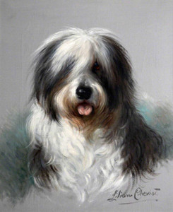 Art prints of Trusty, Old English Sheepdog by Lilian Cheviot