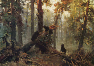 Art prints of Morning in a Pine Forest, Sketch by Ivan Shishkin