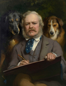 Self Portrait with Dogs by Edwin Henry Landseer