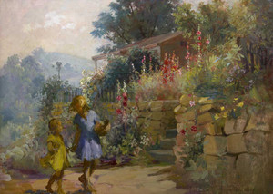 Giclee art prints of Wall Flowers, Girls and Hollyhocks by Adam Emory Albright