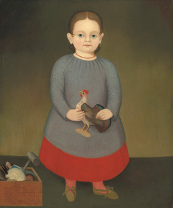 Art Prints of Girl with Toy Rooster by 19th Century American Artist