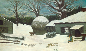 Art Prints of New England Farm in Winter by 19th Century American Artist