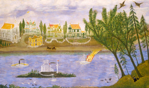 Art Prints of Village by the River by 19th Century American Artist