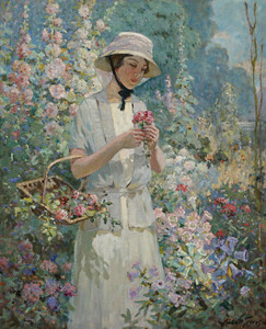 Art Prints of Woman with a Flower Basket by Abbott Fuller Graves