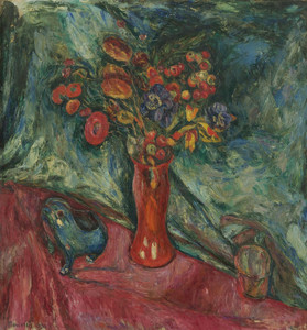 Art Prints of Still Life Flowers in a Red Vase by Abraham Manievich