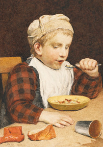 Art Prints of Boy Wearing a Hat Eating Lunch, 1910 by Albert Anker
