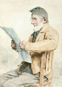 Art Prints of Farmer Reading from the Newspaper by Albert Anker