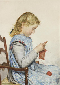 Art Prints of Girl Knitting, 1905 by Albert Anker