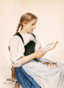 Art Prints of Girl Reading with Kitten, 1904 by Albert Anker