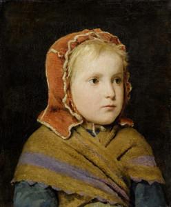 Art Prints of Girl in a Red Cap, 1866 by Albert Anker