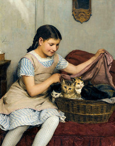 Art Prints of Girl with Kittens in a Basket by Albert Anker