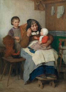 Art Prints of Grandmother Spooning Soup to Her Grandchild, 1868 by Albert Anker