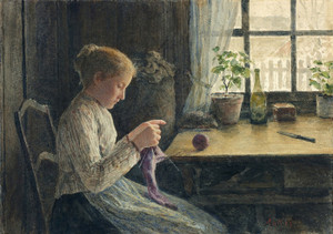 Art Prints of Knitting Girl by the Window by Albert Anker